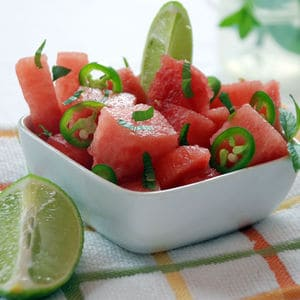 Carbonated watermelon salad