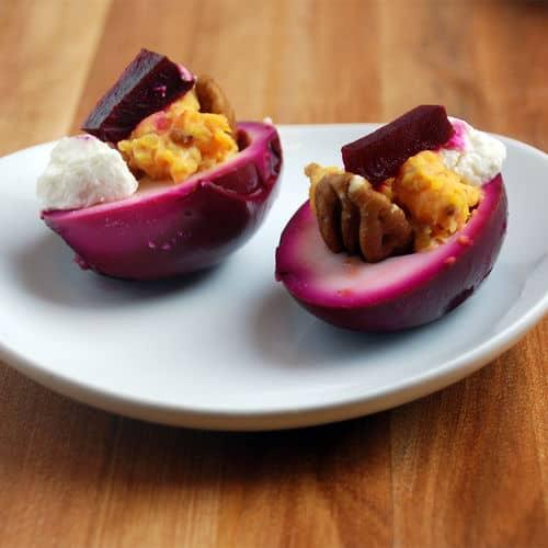 Devilled eggs purple pickled