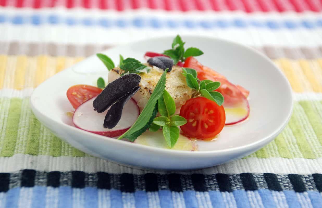 Mustard infused oil swordfish herb salad