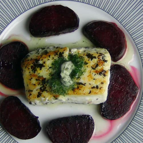 Halibut honey roasted beets