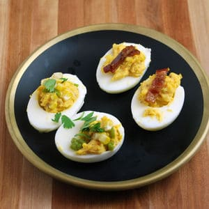 Devilled eggs bacon and corn
