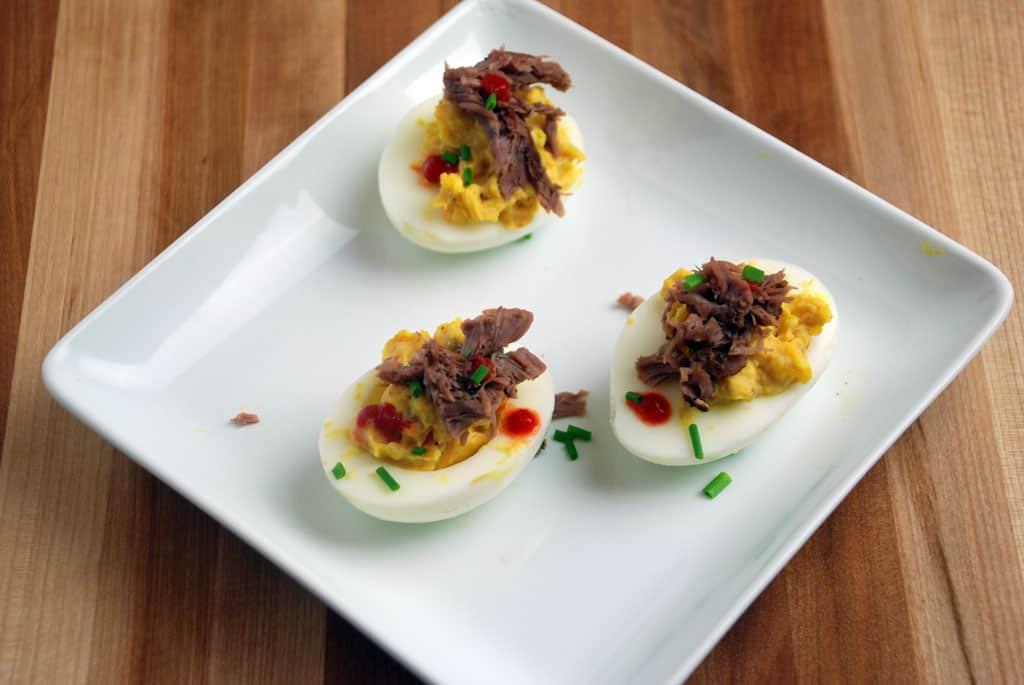 Develied eggs   pulled pork