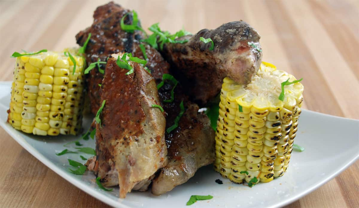 Honey chipotle spare ribs corn
