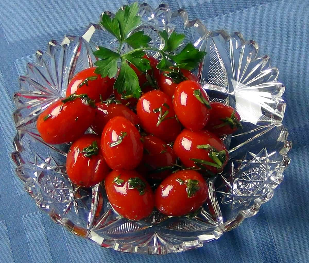 Poached cherry tomatoes