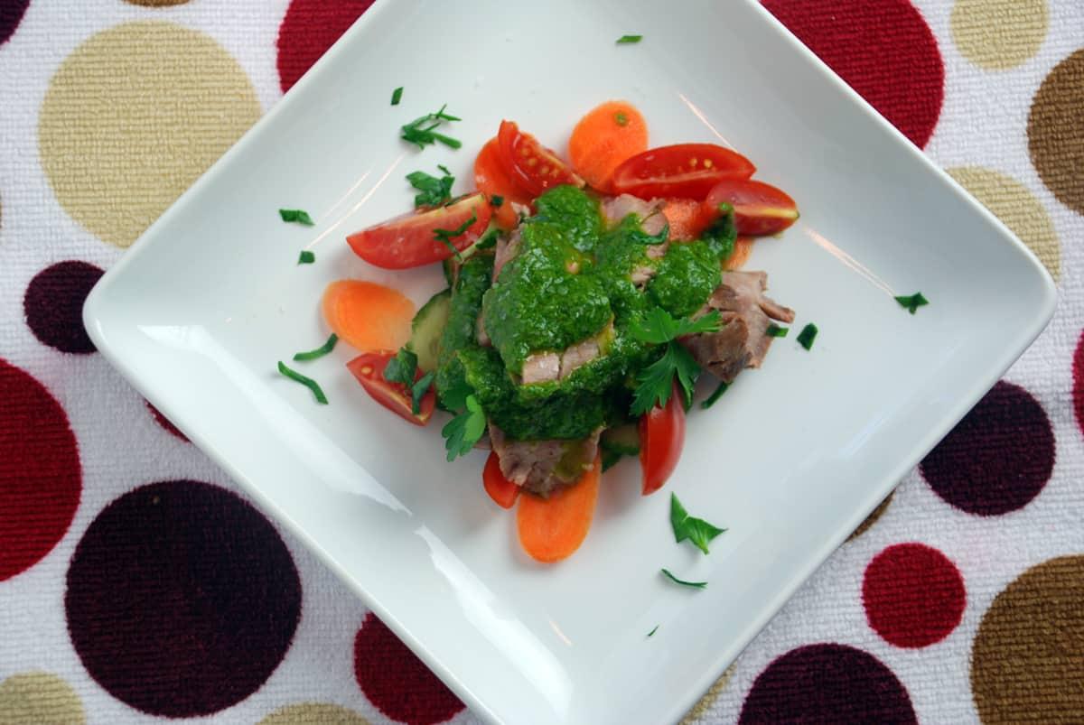 Flank steak chimichurri overhead