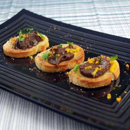 Carmelized plantain butter crostini
