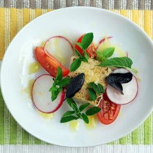 Mustard infused oil swordfish herb salad overhead