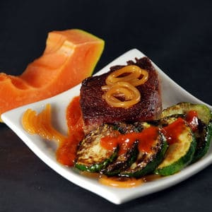 Steak with papaya noodles