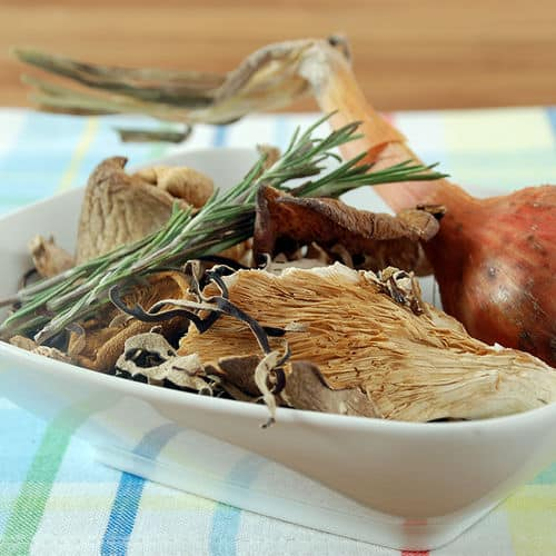 Mushroom broth sous vide