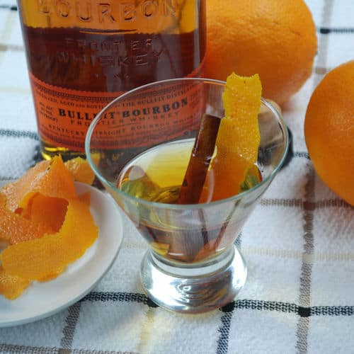 Orange cinamon infused bourbon