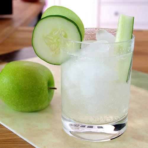 Cucumber sour apple gin fizz