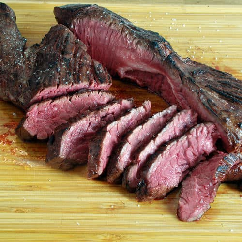 Sous vide hangar steak succotash sliced