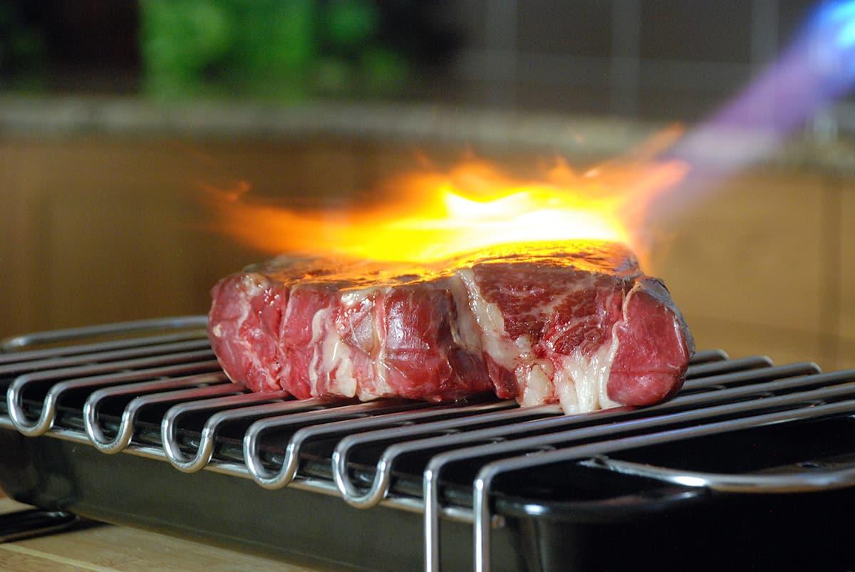 Sous vide searing steak front