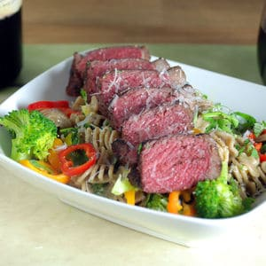 Sous vide bison strip steak carbonara