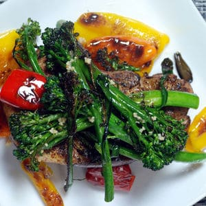 Sous vide pork chop broccolini