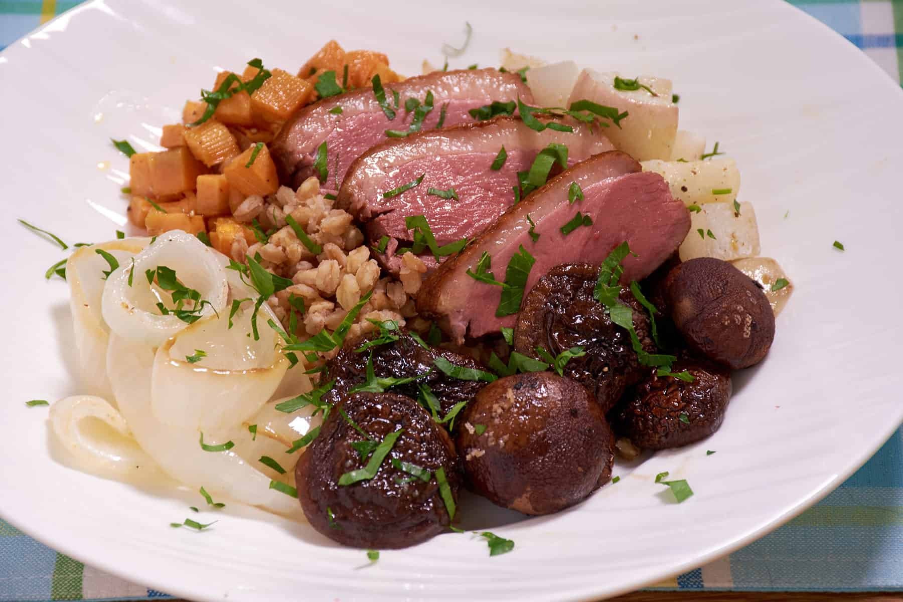 Sous vide duck farro bowl close