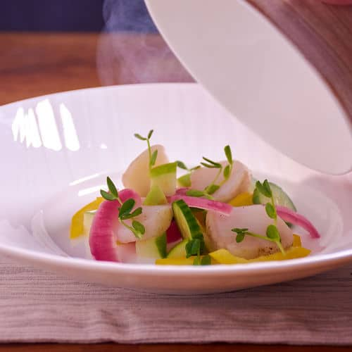 Sous vide smoked scallop salad bowl