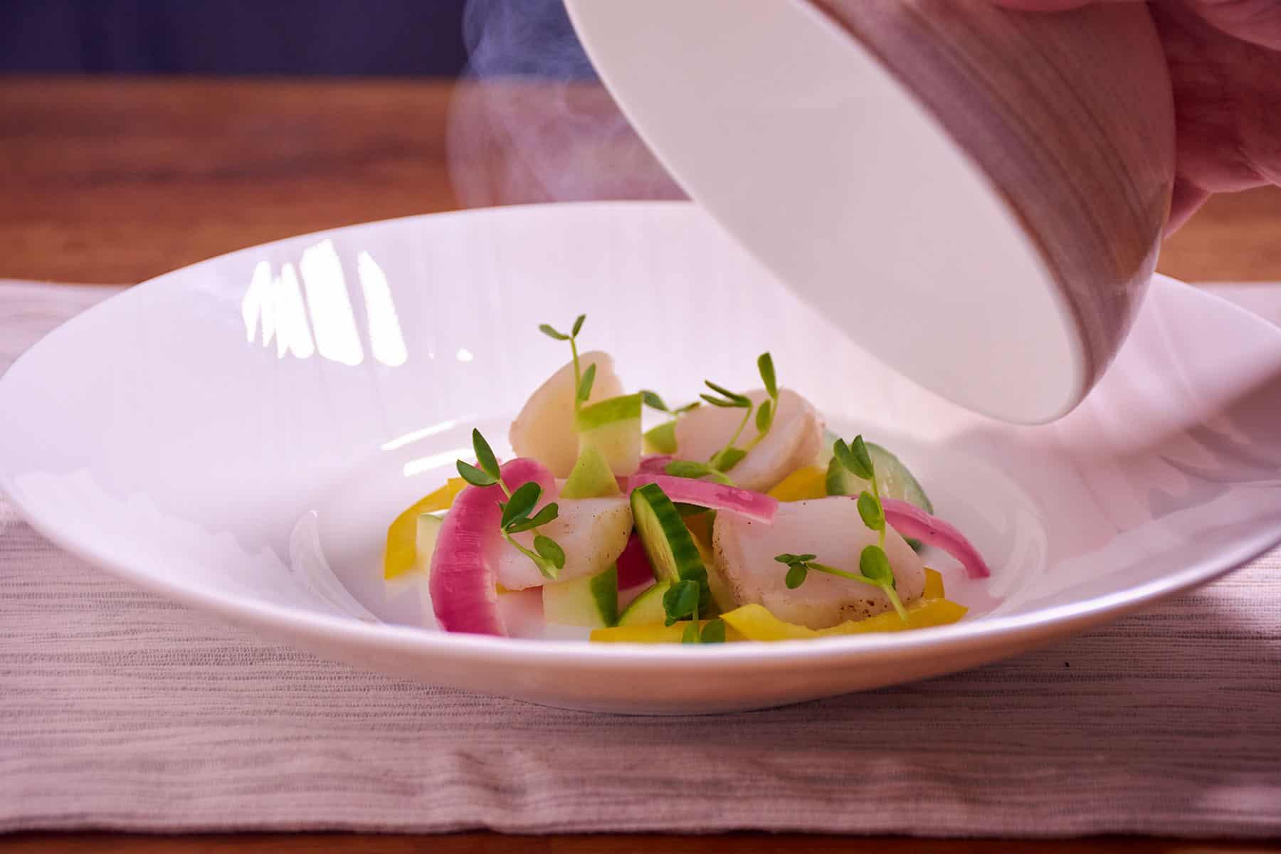 Sous vide smoked scallop salad bowl