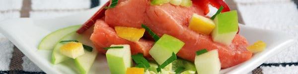 Sous vide salmon 122 apple jalapeno vinaigrette