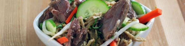 Shredded duck legs sesame noodles