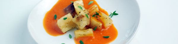 Roasted parsnips with chipotle froth