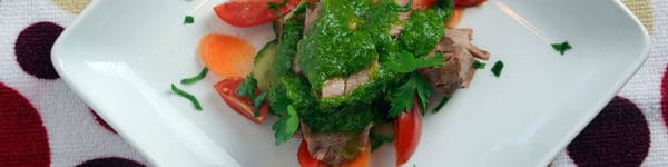 Flank steak chimichurri overhead