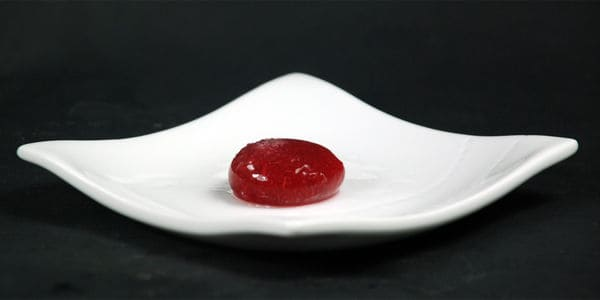 Cranberry alginate sphere 2