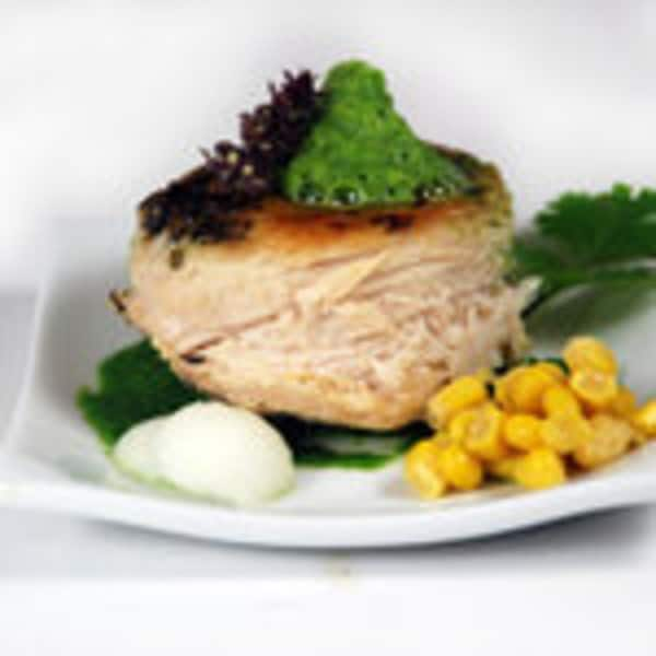 Chicken poblano lecithin foam