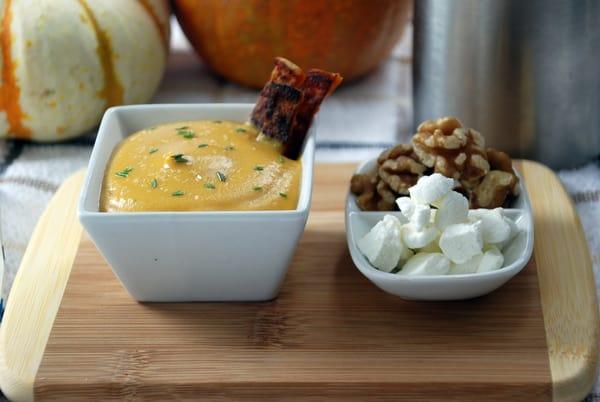 Roasted sweet potato soup foam side