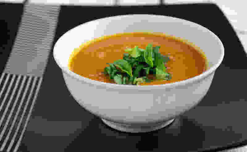 Pressure cooker carrot ginger soup bowl small