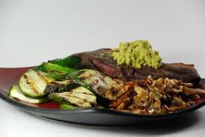 Sous vide steak avacado mushrooms