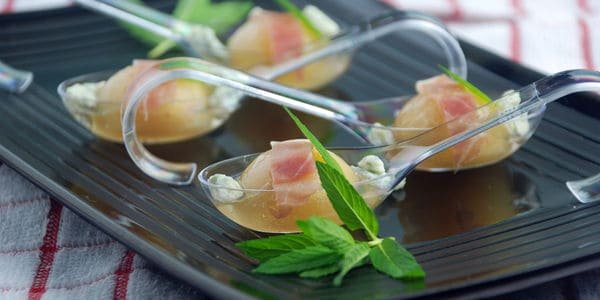 Cantaloupe melon soup party spheres