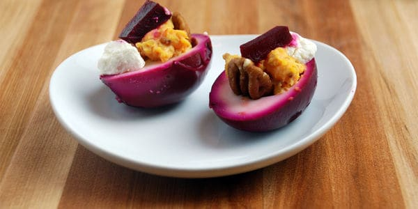 Devilled eggs purple pickled