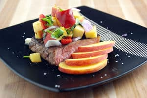 Hangar steak peach salsa