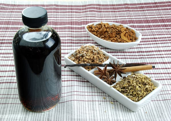 Homemade root beer syrup bottle