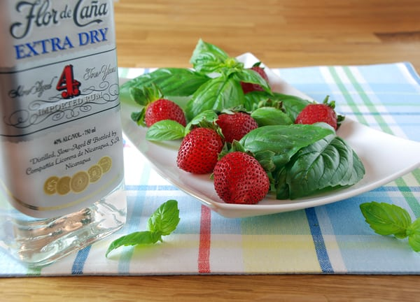 Strawberry basil infused rum