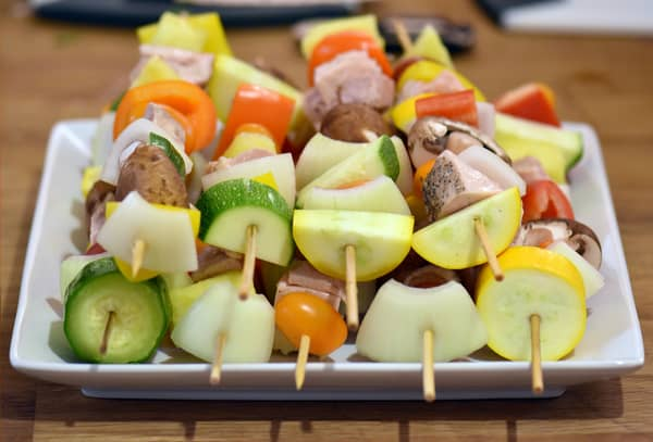 Sous vide shish kabobs chicken ready