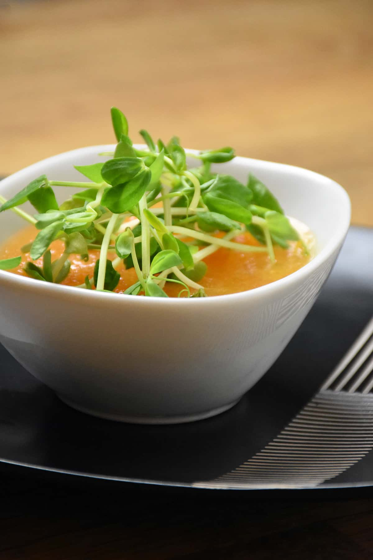 ... Chilled Cantaloupe Soup with Pea Shoots recipe you can check out the