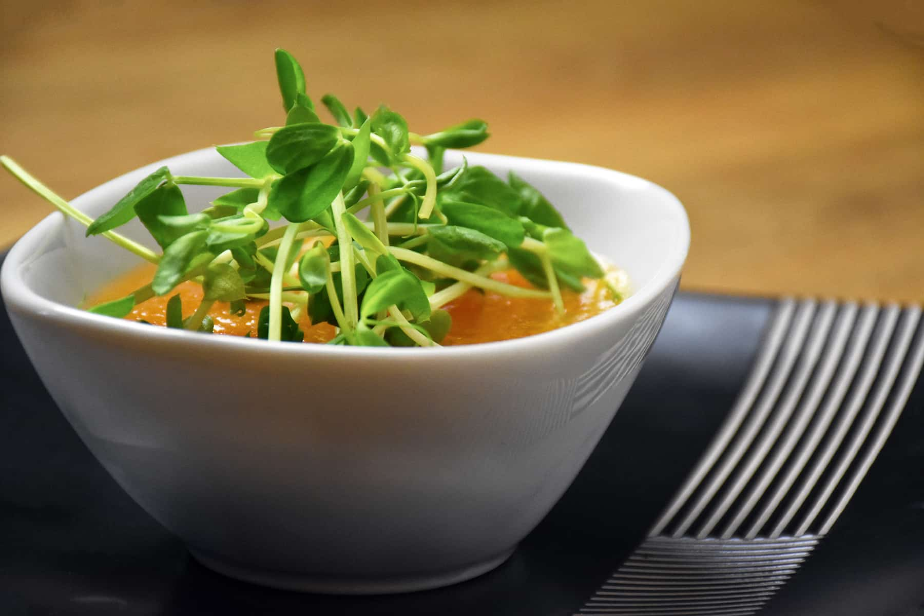 Chilled Cantaloupe Soup with Pea Shoots - Amazing Food Made Easy