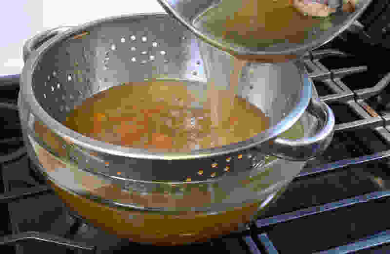 Pressure cooked turkey stock strain