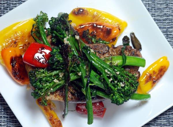 Sous vide pork chop broccolini