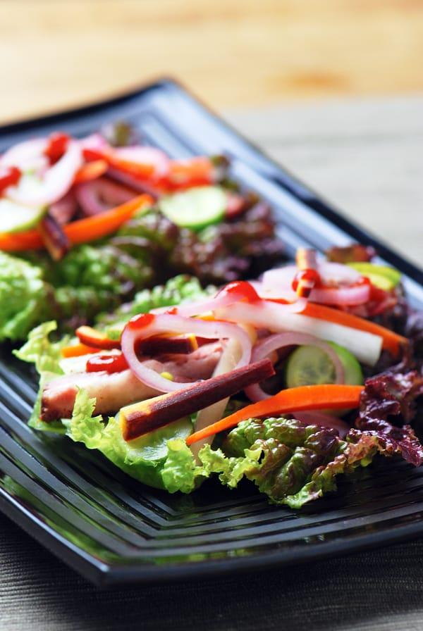 Sous vide short rib korean wraps lettuce