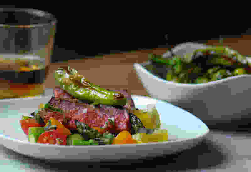 Sous vide steak shishito peppers set