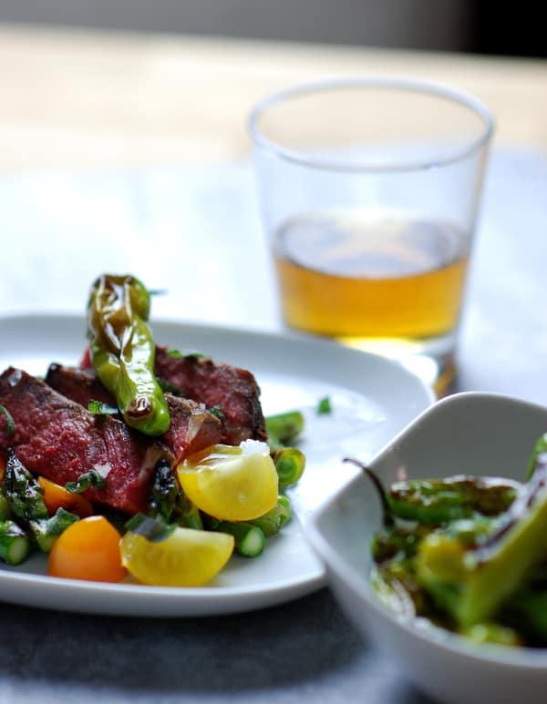 Sous vide steak shishito peppers vert