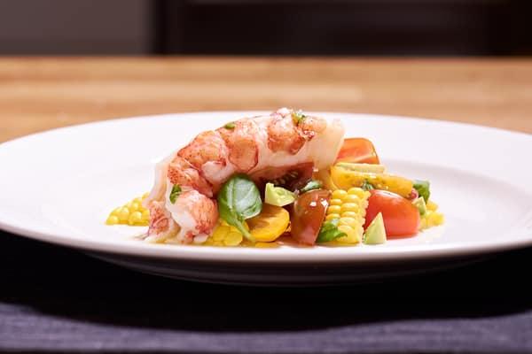 Sous vide lobster tomato salad side