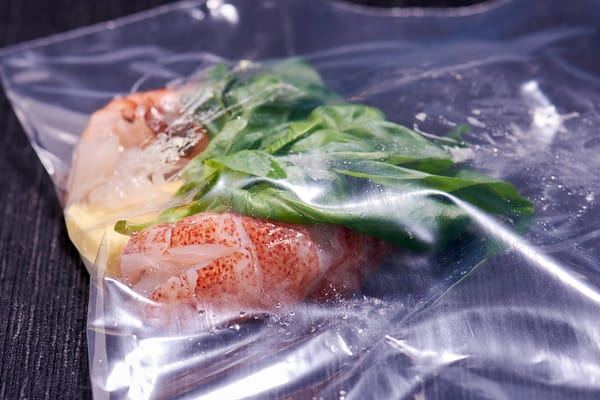 Sous vide lobster tomato salad bagged