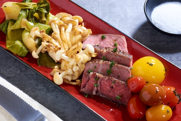 Sous vide steak with bok choy tomatoes mushrooms 6