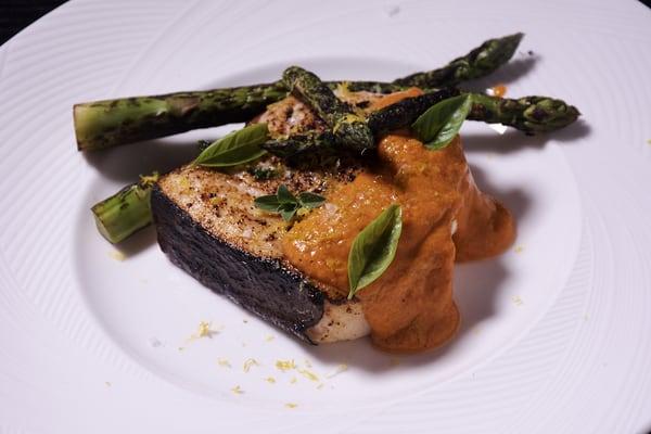 Sous vide swordfish romesco sauce
