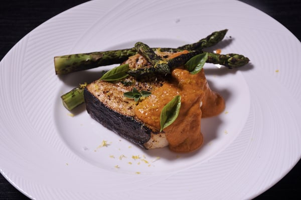 Sous vide swordfish romesco sauce wide