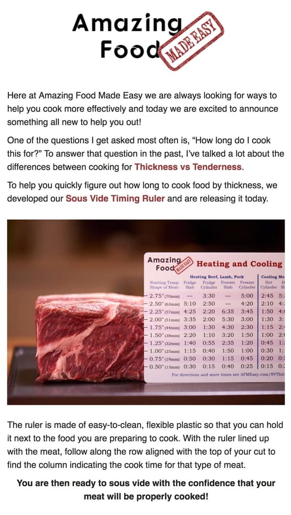 Sous vide timing ruler email
